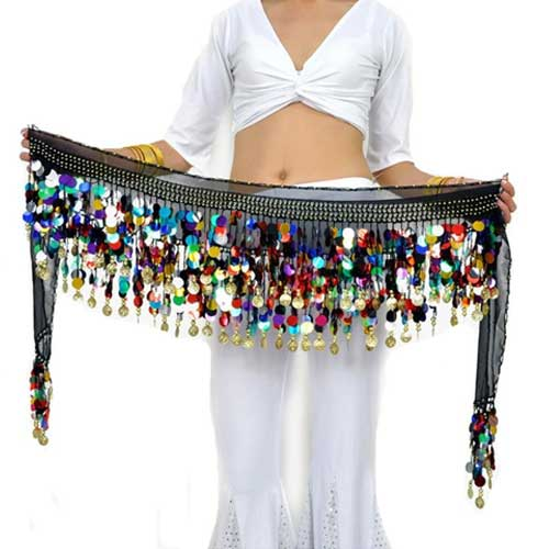 Black belly dance hip scarf