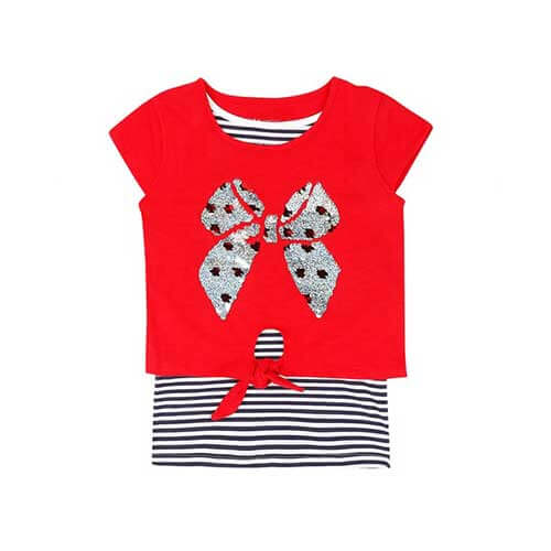 Girls red silver ribbon top