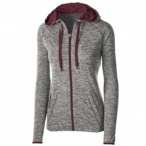 Maroon Grey Melange Womens Jacket