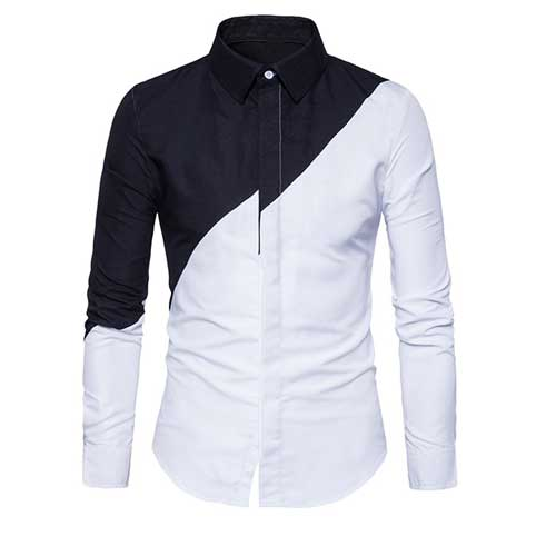 Mens black white shirt