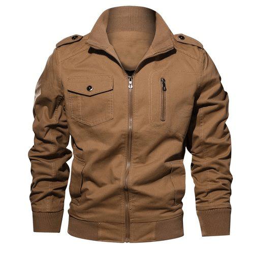 Mens camel brown utilitarian jacket