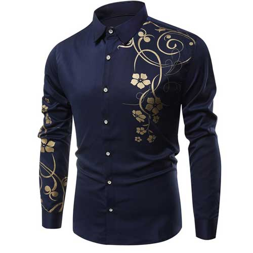 Mens luxe printed blue shirt