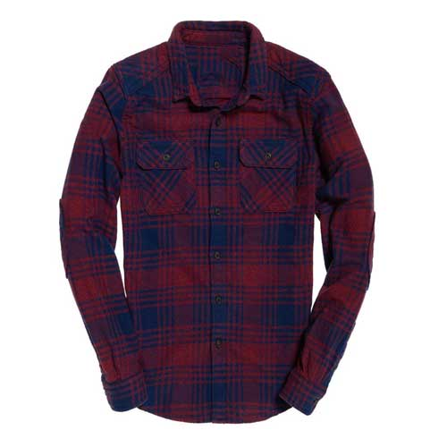 Mens red blue flannel shirt