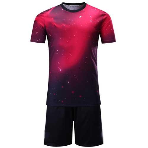 Mens red galaxy print jersey set