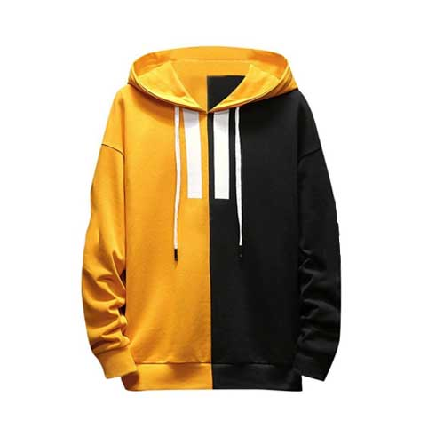 Mens yellow black hoodie