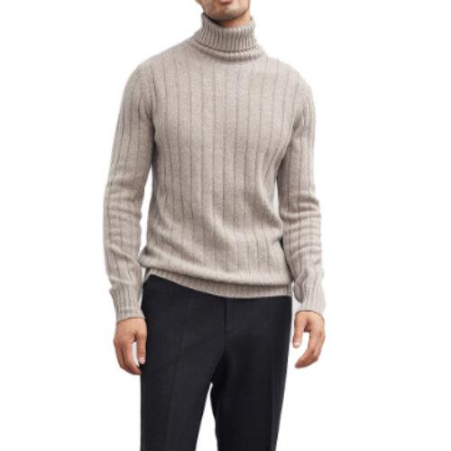 Wholesale Beige Melange Turtleneck Sweater