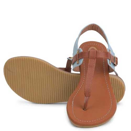Womens Brown Open Toe Flats