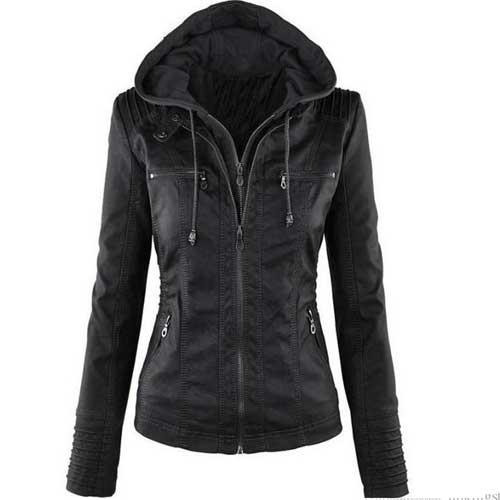 Womens black denim hoodie