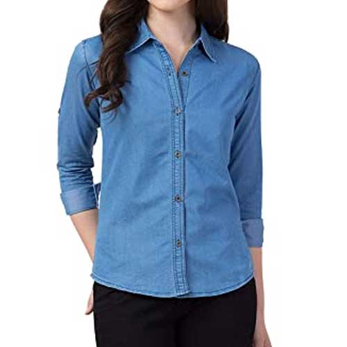 Womens blue denim shirt