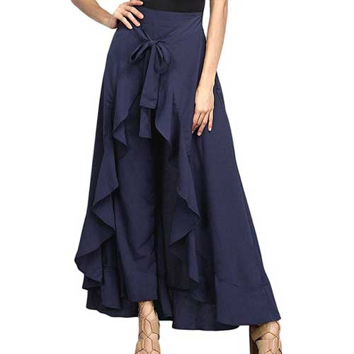 Womens blue maxi pant skirt