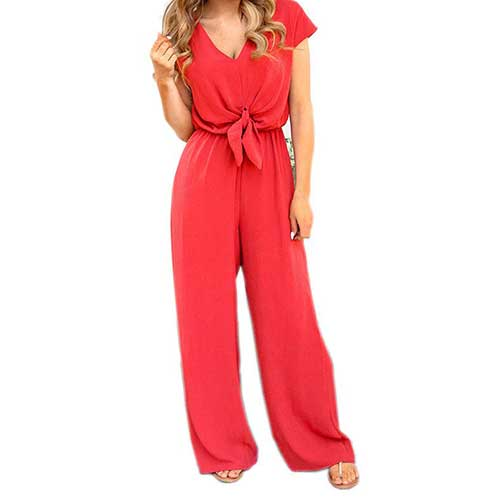 Womens bold red jumpsuit
