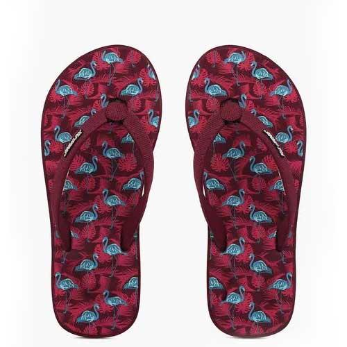Womens flamingo print flip flops