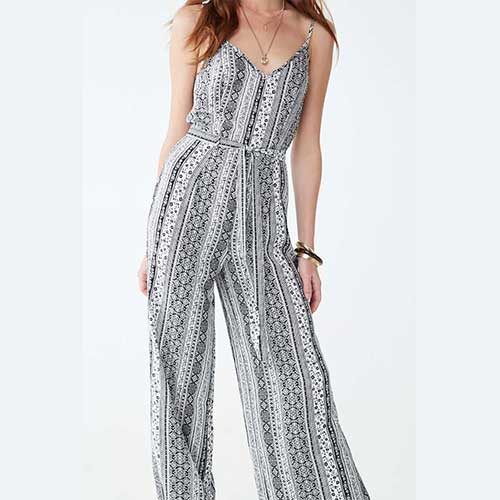 Womens neutral printed jumpsuit