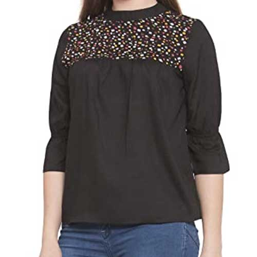 Womens neutral studded top