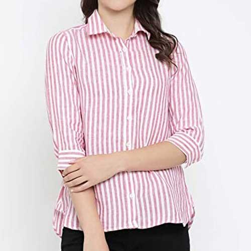 Womens pink striped shirt