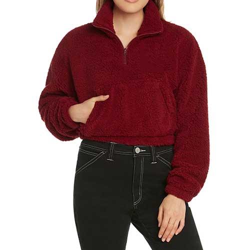 Womens red fuzzy jacket