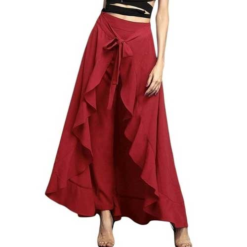 Womens red maxi pant skirt