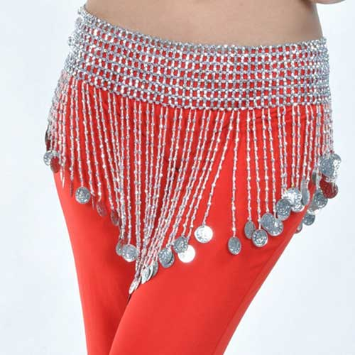 Womens silver belly dance hip scarf