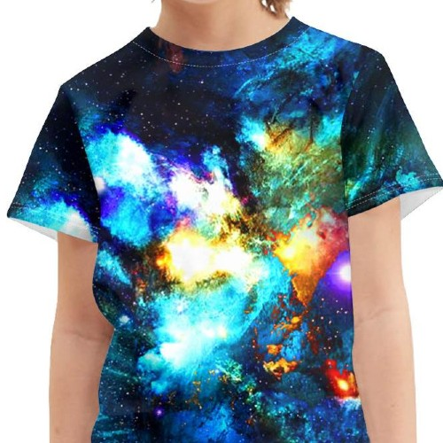 Wholesale Boy's Blue Palm Print T-shirt