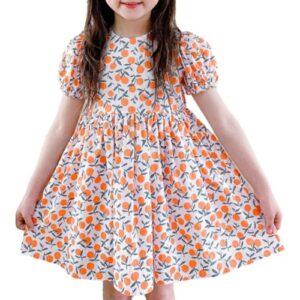 Wholesale Girl's Floral Orange Dress