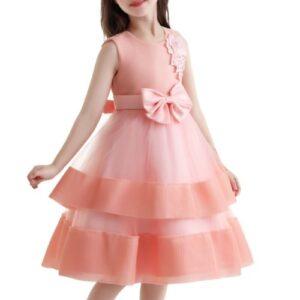 Wholesale Girl's Peach Bow Dress