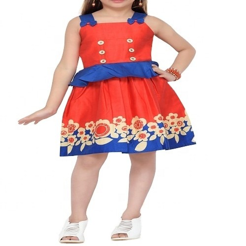 Wholesale Girl's Red & Blue Frock