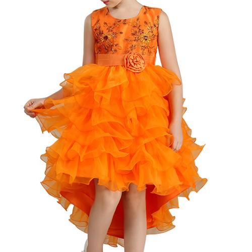 Wholesale Girl's Sleeveless Orange Dress