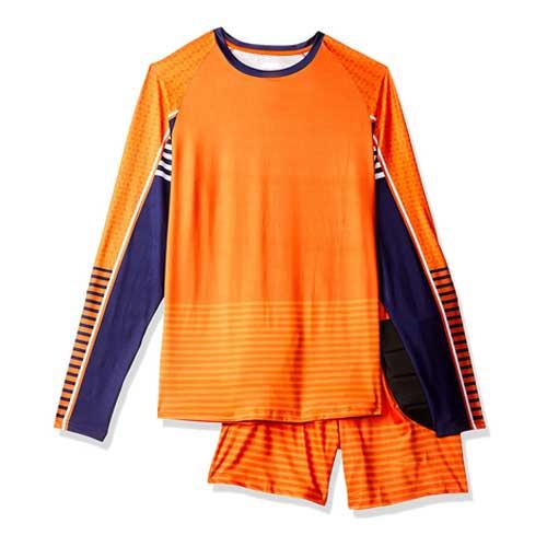 mens orange jersey set