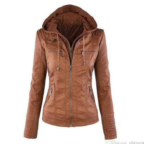 womens brown hoodie jacket