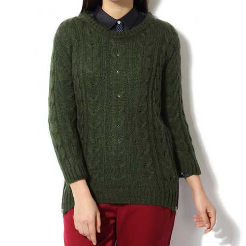 womens forest green sweater 1
