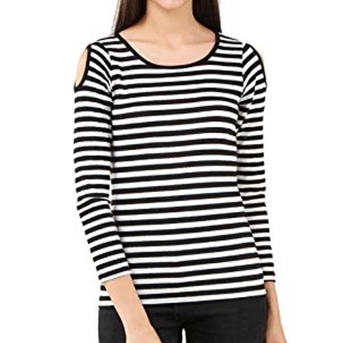 womens striped cold shoulder top